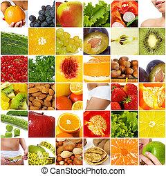 collage, dieta, nutrizione