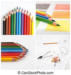collage, disegno, matite, colorito, tuo