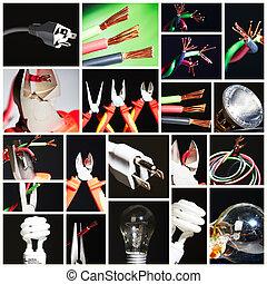 collage, elettrico, instruments.