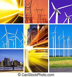 collage, energia elettrica