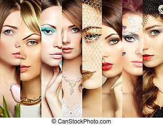 collage., facce, bellezza, donne