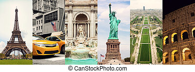 collage, famoso, viaggiare, locali