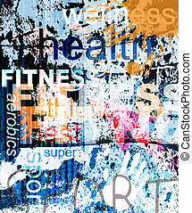 collage, fondo., parola, grunge, fitness.