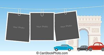 collage, foto, vettore, cornici, illustrazione