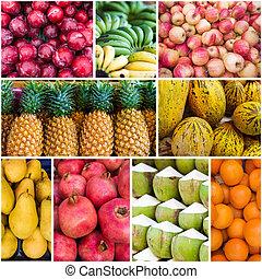collage, fruits., fresco, collezione, frutte, vario