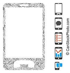 collage, icona, portello, telefono mobile