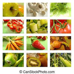 collage, nutrizione, cibo sano