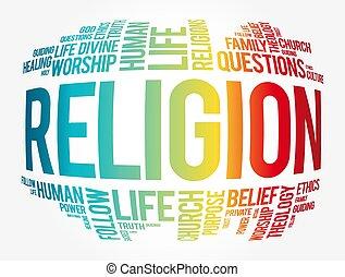 collage, nuvola, religione, parola