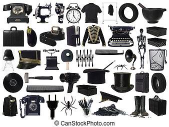 collage, oggetti, nero
