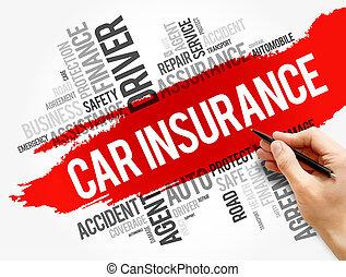 collage, parola, automobile, nuvola, assicurazione