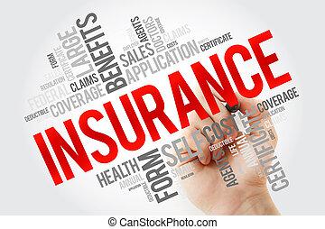 collage, pennarello, parola, assicurazione, nuvola