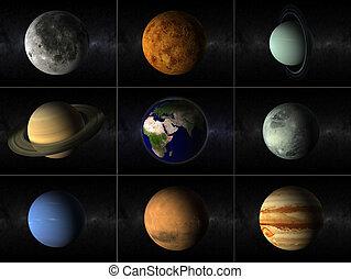 collage, pianeti