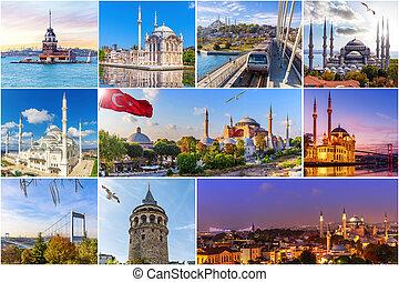 collage, posto, famoso, istanbul, tacchino