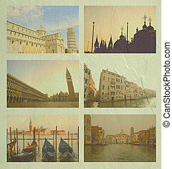 collage, posto, italia, famoso