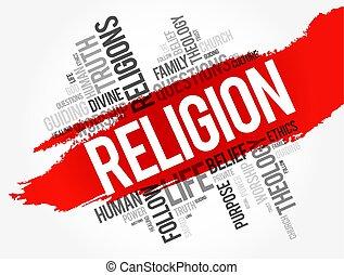 collage, religione, parola, nuvola