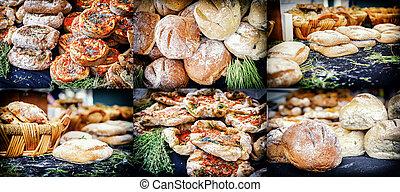 collage, rustico, panetteria, frescamente, pane cotto forno