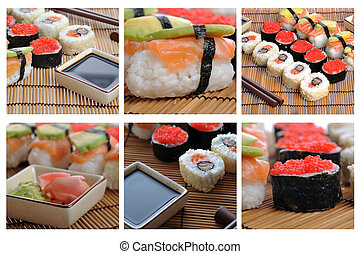 collage, sushi, giapponese