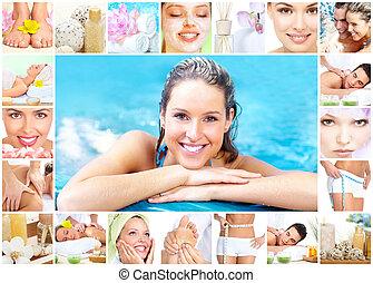 collage, terme, massaggio, fondo.