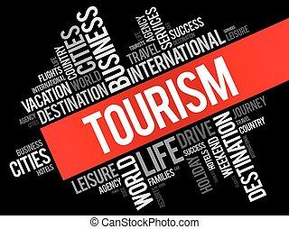 collage, turismo, parola, nuvola