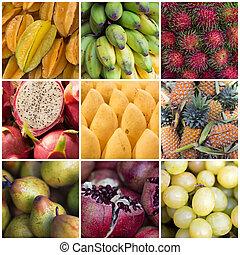 collage, vario, frutte