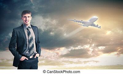 collage, viaggiante, aereo, affari