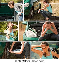 collasso, automobile, collage