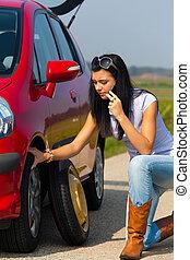 collasso, donna macchina, pneumatico