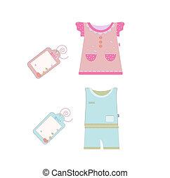 collection., collezione, vettore, bambino, bambini, vestiti
