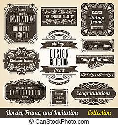 collection., cornice, calligraphic, invito, angolo, elemento, bordo