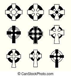 collection., croce, segno, design., scozzese, croci, irlandese, set, religioso, celtico