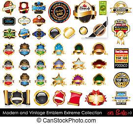 collection., emblemi, estremo, moderno, vendemmia