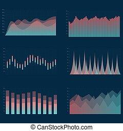 collection., set, graphs., grafico, affari