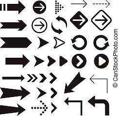 collection., simbolo, freccia, icone