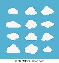 collection., vettore, nubi, illustrazione
