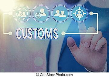 collects, concettuale, foto, testo, segno, amministra, customs., goods., importato, dipartimento, doveri, esposizione, ufficiale