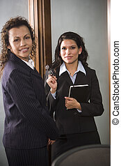 collega, conversare, donna d'affari, ispanico
