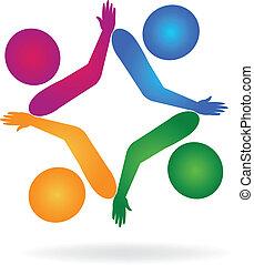 collegamenti, logotipo, lavoro squadra, mani