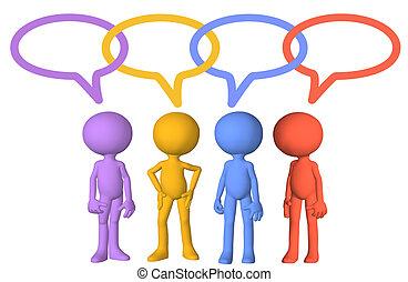 collegamenti, media, discorso, caratteri, sociale, bolla, discorso