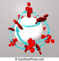 collegamenti, persone, -, rete, sociale