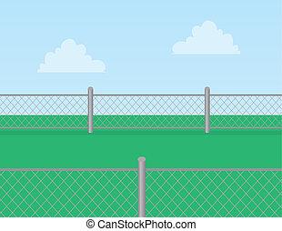 collegamento chain, erba, recinto