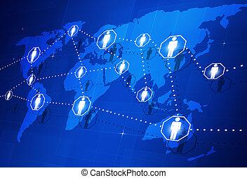 collegamento, globale, persone