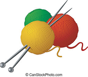 collegamento, skeins, lana, aghi