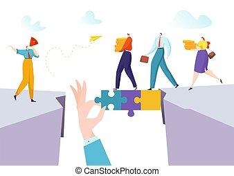 collegamento, soluzione, concetto, illustration., fare, persona, vettore, uomo, donna affari, successo, ponte, lavoro squadra, puzzle, astratto, uomo affari