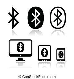 collegamento, vettore, bluetooth, s, icone