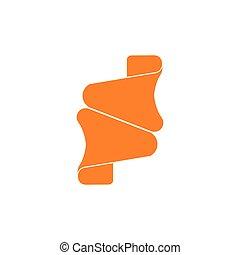 collegato, 3d, logotipo, vettore, freccia