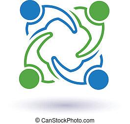 collegato, 7 persone, altro., felice, porzione, icona, squadra, congress., vettore, gruppo, amici, concetto, ciascuno