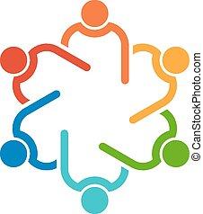 collegato, persone, altro., lavoro squadra, interlaced., 6, porzione, icona, cerchio, vettore, gruppo, concetto, ciascuno