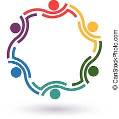collegato, summit., persone, altro., lavoro squadra, 6, porzione, icona, cerchio, vettore, gruppo, concetto, ciascuno