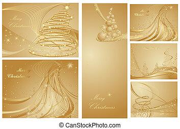 collezione, allegro, anno, nuovo, natale, felice