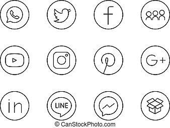 collezione, aprile, russia, in, altri, sociale, 20, lineart, -, rotondo, facebook, collegato, instagram, stampato, nero, mosca, 2017:, paper:, icone, cinguettio, media